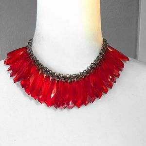 Red Faux Gem Crystal Necklace Linked Chain